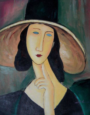 Amedeo Modigliani, Jeanne Hébuterne con grande cappello, particolare, 1917